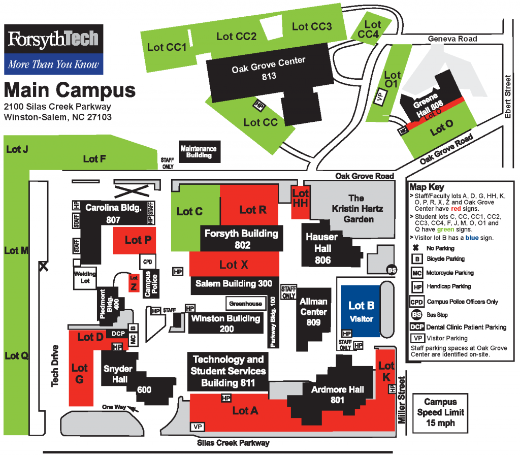 Map of main campus. Call 336.723.0371 for more information.
