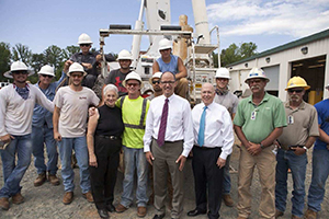 Secretary of Labor Thomas Perez and Congresswoman Virginia Foxx stops by to see the electrical lineman program during their visit to Forsyth Tech.
