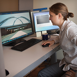 Woman at computer desk
