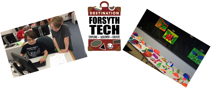 Destination Forsyth Tech logo and pictures of students and crafts