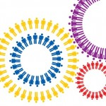 decorative image of stick figure people arranged in colorful circles