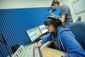 Radio broadcasting students at work
