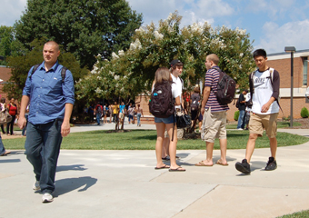 summer students walking on campus