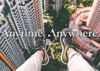 Anytime anywhere - Feet dangling off of a building