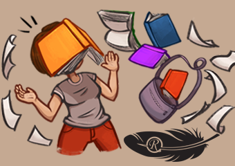 illustration of a student whos books and papers are flying everywhere
