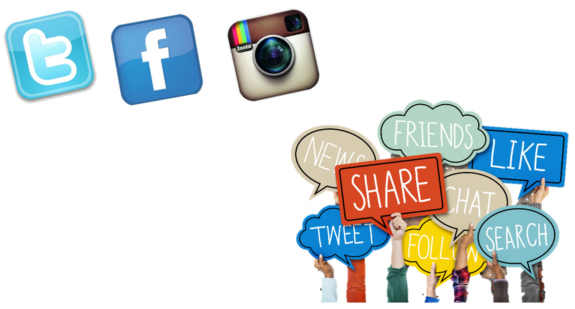 Twitter, Facebook, and Instagram icons