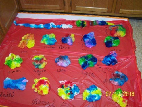 tie dye shirts being dyed