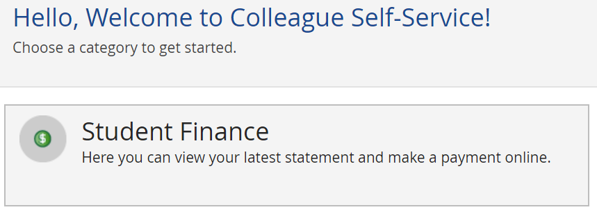 a screenshot of the Student Finance link on the My Forsyth Tech website