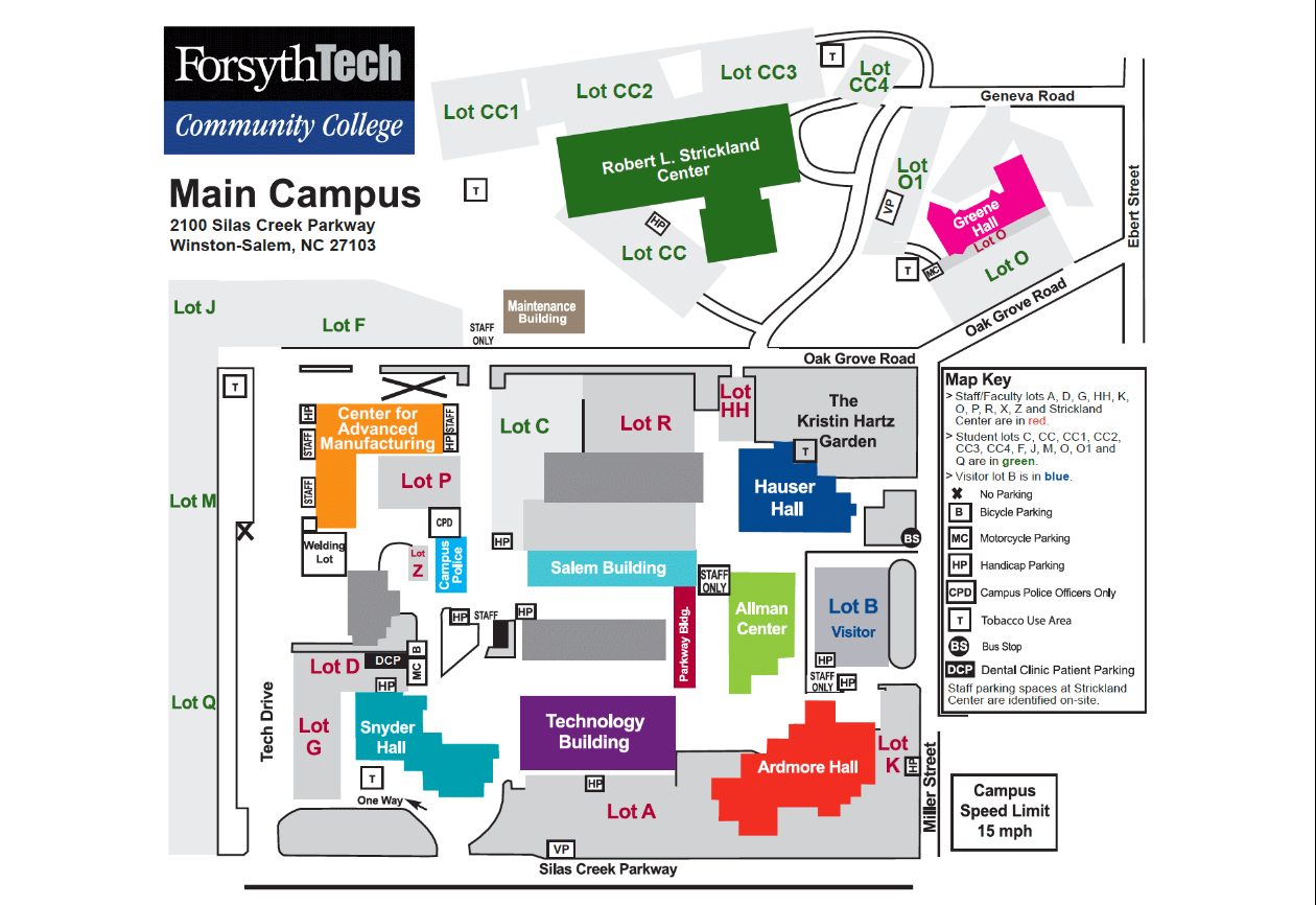 a map of Forsyth Tech's Main Campus