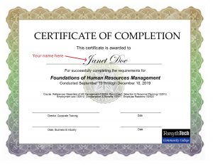 photo of Human Resources certificate
