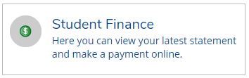 Student finance Image. Here you can view your latest statements and make a payment online