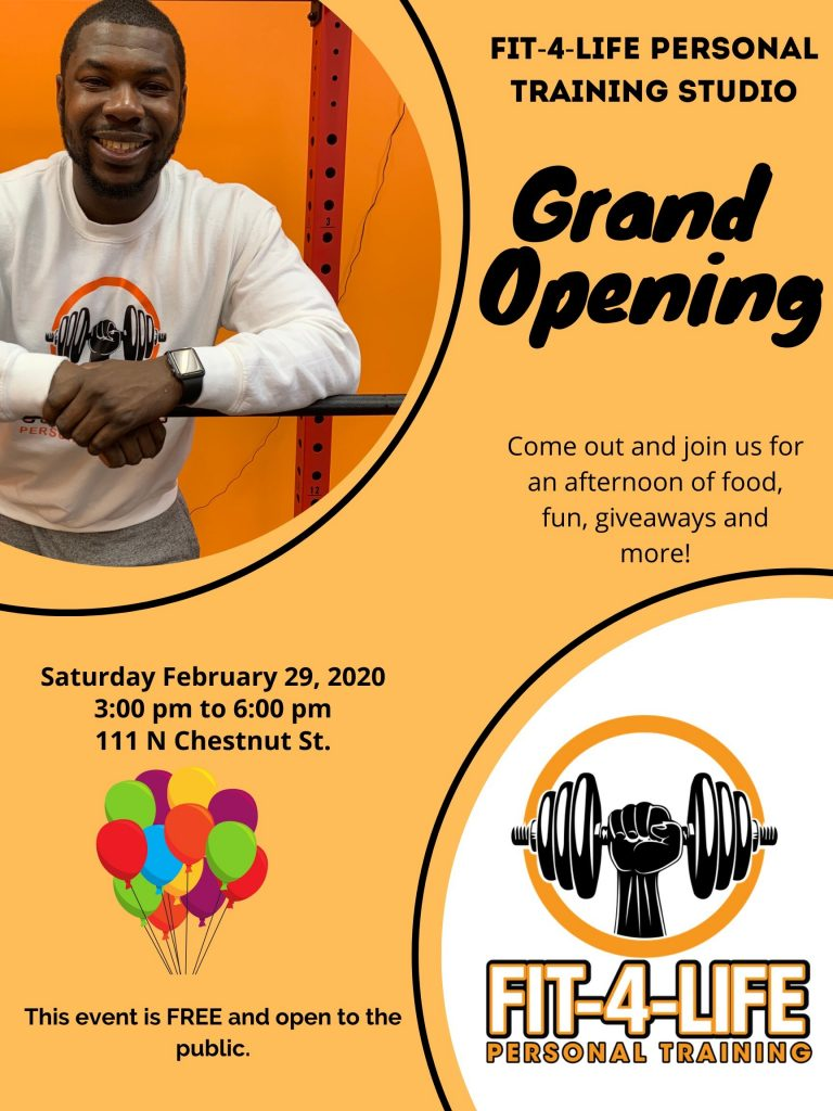 Flyer for Fit-4-Life Grand Opening (Note: Event has already passed)