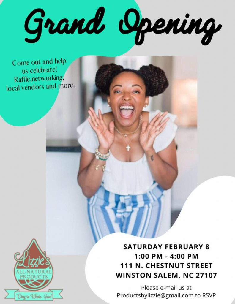Grand Opening Flyer for Lizzie's All-Natural Products (Note: Event has passed)