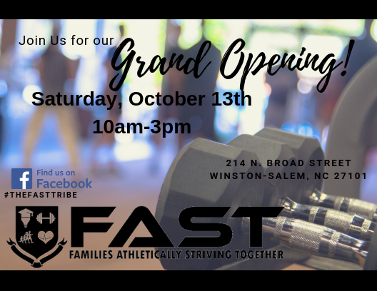 Flyer for Grand Opening of FAST (Note: Event has passed)