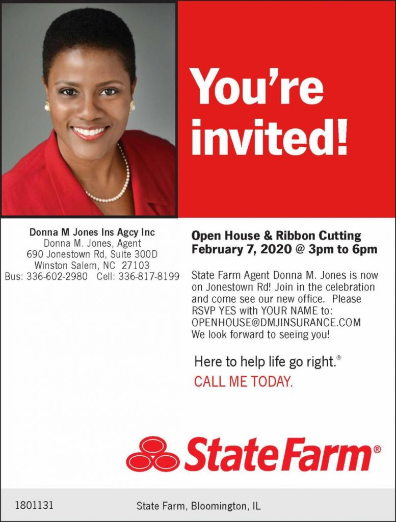 Flyer for grand opening of Donna Jones's new office