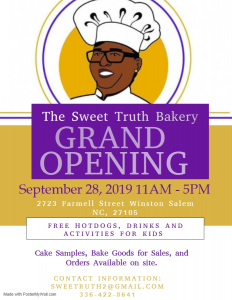 Flyer for Grand Opening of The Sweet Truth Bakery (Note: Event has already passed)