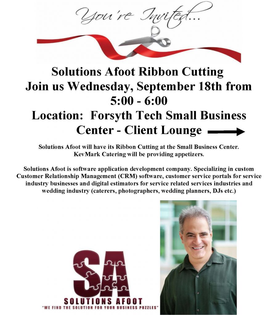 Flyer for Grand Opening of Solutions Afoot (Note: event has passed)