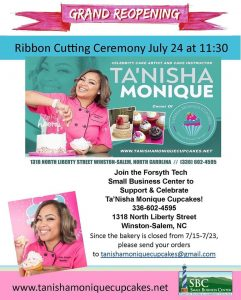 Flyer for Ribbon Cutting Ceremony of Tanisha Monique Cupcakes (Note: Event has passed)