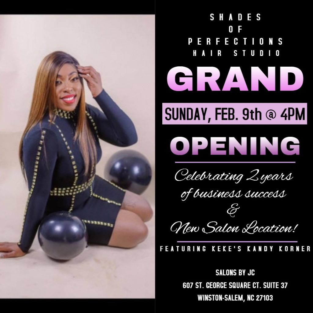 Flyer for grand opening of Shades of Perfection Hair Studio (Note: event has already passed)