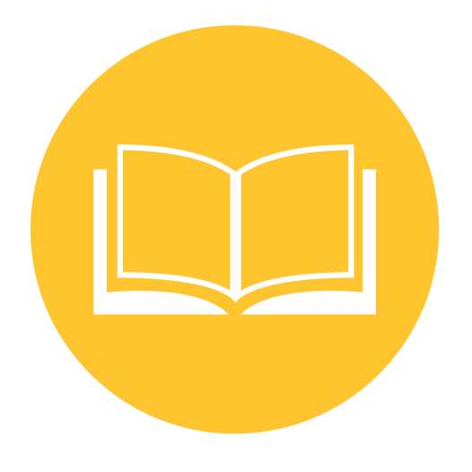 White book icon on a yellow circle background