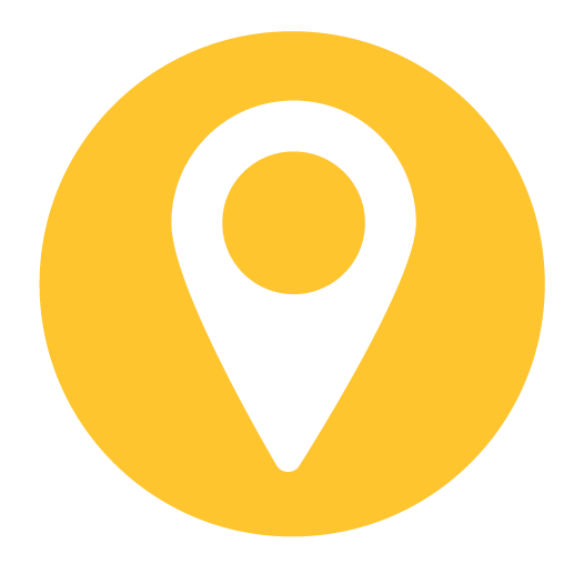 white Google maps location pin icon ontop of a yellow circle background