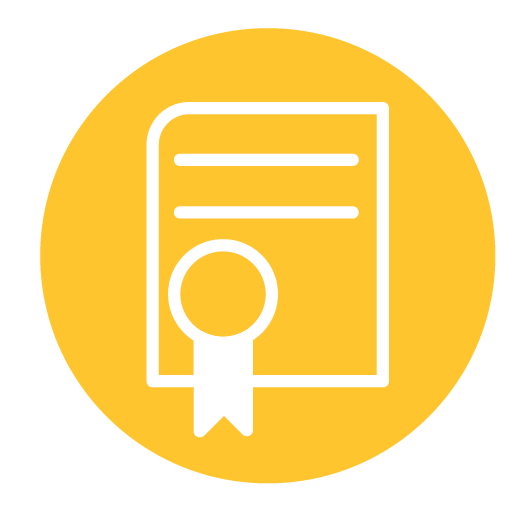 Diploma icon on-top of a yellow circle background