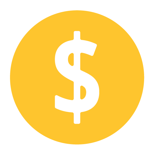 White dollar sign icon on top of a yellow circle background