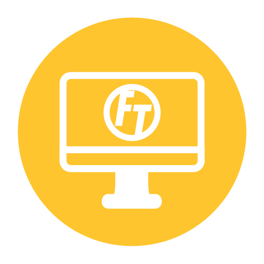 White computer motor icon on top of a yellow circle background