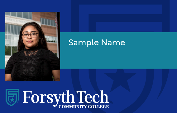 Sampel Student Identification Card (Dark blue background with teal strip and white text)