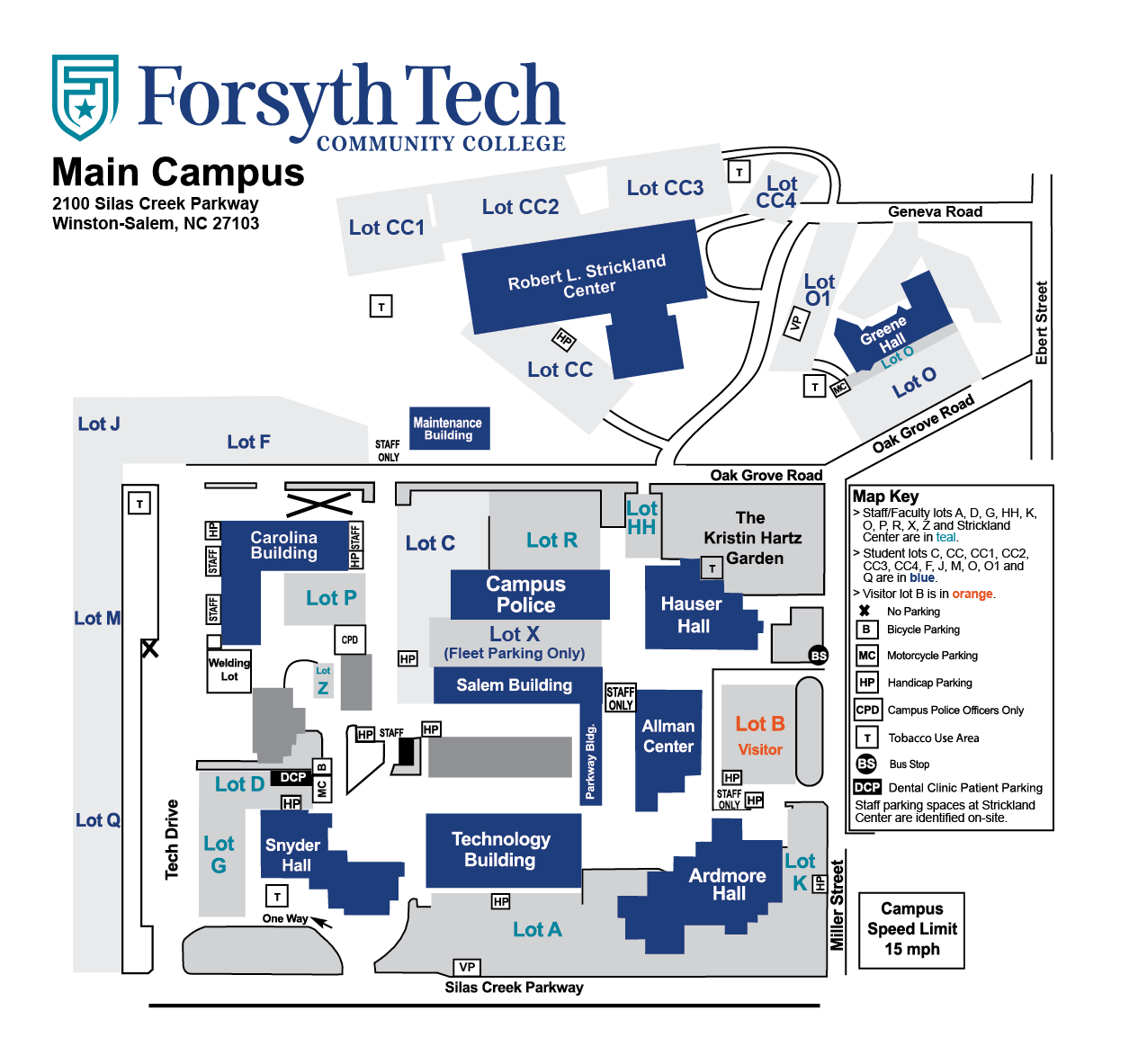 Map of Forsyth Tech's Main Campus