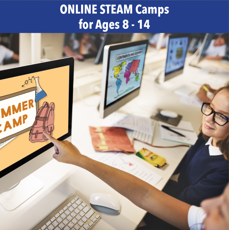 Image link to Online Steam Camps for Ages 8 - 14, picture of kids pointing at computer screen